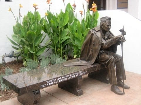Bronze Veteran Statue Bench Memorial