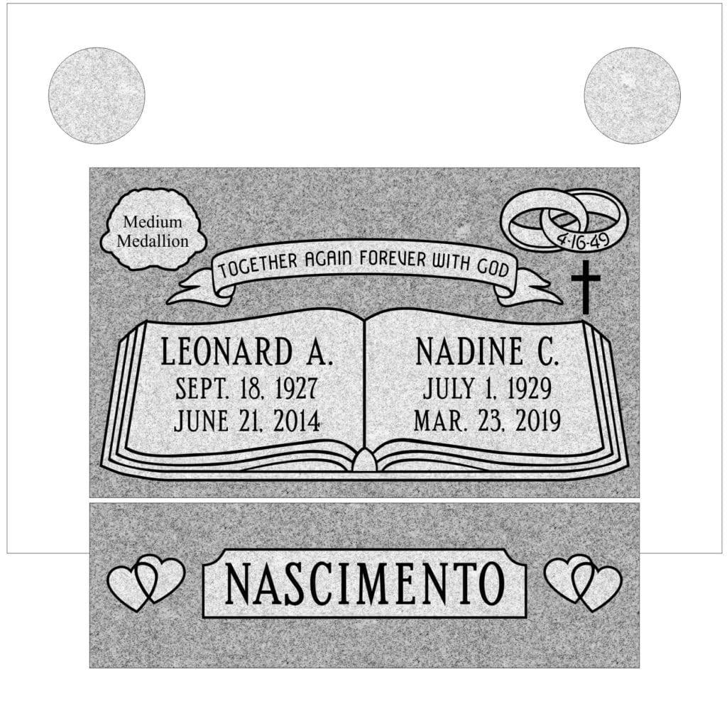 Slant Headstone, Slant Marker, and Slant Gravestone Designs 8