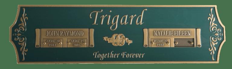 Trigard Companion Bronze Niche Plaque